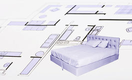 Plan of flat, bedroom Stock Photography