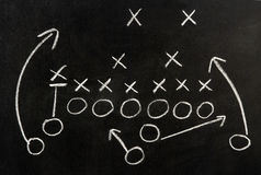 Plan of a football game. Drawn on blackboard stock photo