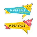 Plan formade baner för anförande bubbla med text TOPPNA SALE, pris ta stock illustrationer