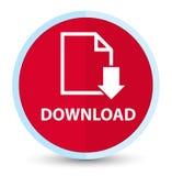 Plan främsta röd rund knapp för nedladdning (dokumentsymbol) royaltyfri illustrationer