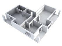 plan för apartament 3d Royaltyfri Bild