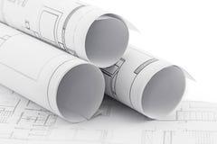 plan för arkitekt 3d framför rullar Royaltyfri Fotografi