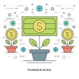 Plan Fundraising för linje och finansiell illustration för tillväxtbegreppsvektor royaltyfri illustrationer