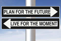 Plan For The Future. Conceptual one way signs on Life Royalty Free Stock Photos