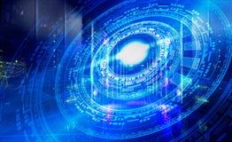 Plan futuriste de technologie sur le fond des unités centrales symétriques fantastiques de nombre illustration de vecteur