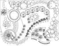 Plan of garden. Black and white Royalty Free Stock Photography