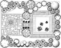 Plan of garden. Decorative plants black and white Stock Photography