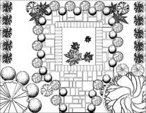 Plan of garden black and white. Plan of garden with symbols of tree Royalty Free Stock Photos