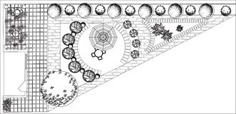 Plan of garden black and white. Plan of garden with symbols of tree Stock Image