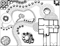 Plan of garden black and white. Plan of garden with symbols of tree Royalty Free Stock Images