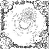 Plan of garden black and white. Plan of garden with symbols of tree Stock Photography