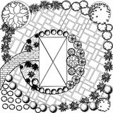 Plan of garden black and white. Plan of garden with symbols of tree Royalty Free Stock Photo
