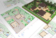 Plan of garden land. 3D rendering of landscape design of the garden area Stock Images