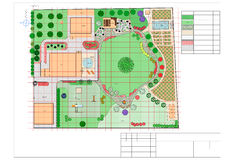 Plan of garden land. Landscape architect design traditional chinese garden plan Royalty Free Stock Image