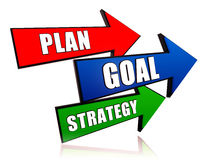 Plan, goal, strategy. 3d colorful arrows with text Stock Images