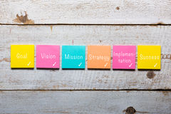 Plan - goal, vision, mission, strategy, implementation, success. Handwritten on colorful sticky notes Stock Photo