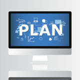 Plan Graphic on Computer Screen Concept. Royalty Free Stock Photo