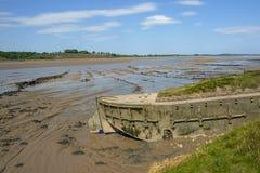 Plan historique de protection d'érosion de banque de Tidal River aux carcasses de Purton, Gloucestershire, R-U image libre de droits