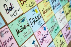 Plan holiday lay desk. Travel planning, concept. Trip plan. Trip plan. Planning vacation, search place for holiday. Travel on world, banner, Stickers Travel royalty free stock images