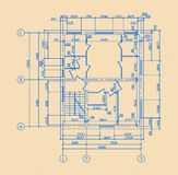 Plan Of House. Background with  plan of the old big house Stock Photography