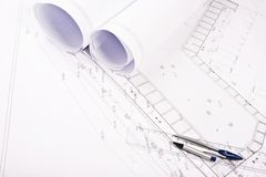 Plan for house. With blueprint Royalty Free Stock Photos