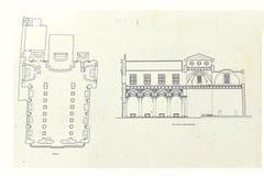 Plan i elewacja bazylika St Agatha fotografia stock