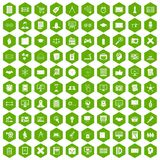 100 plan icons hexagon green. 100 plan icons set in green hexagon isolated vector illustration royalty free illustration