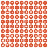 100 plan icons hexagon orange. 100 plan icons set in orange hexagon isolated vector illustration Royalty Free Stock Images