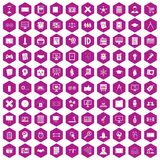 100 plan icons hexagon violet. 100 plan icons set in violet hexagon isolated vector illustration vector illustration