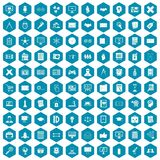 100 plan icons sapphirine violet. 100 plan icons set in sapphirine hexagon isolated vector illustration stock illustration