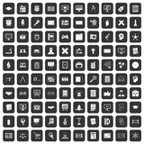 100 plan icons set black. 100 plan icons set in black color isolated vector illustration Stock Image