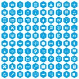 100 plan icons set blue. 100 plan icons set in blue hexagon isolated vector illustration Royalty Free Stock Image