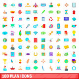 100 plan icons set, cartoon style Royalty Free Stock Photography