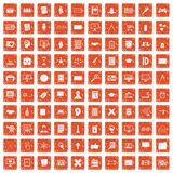 100 plan icons set grunge orange. 100 plan icons set in grunge style orange color isolated on white background vector illustration Royalty Free Stock Photography