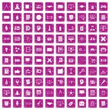 100 plan icons set grunge pink. 100 plan icons set in grunge style pink color isolated on white background vector illustration Royalty Free Stock Image