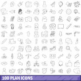 100 plan icons set, outline style Royalty Free Stock Photos