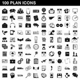 100 plan icons set, simple style. 100 plan icons set in simple style for any design vector illustration Stock Photo