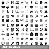 100 plan icons set, simple style. 100 plan icons set in simple style for any design vector illustration royalty free illustration
