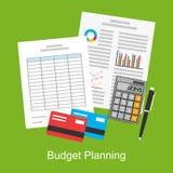 Plan illustration av den budget- planläggningen, marknadsanalys, finansiell redovisning Arkivbild