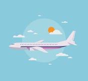 Plan illustration av det moderna flygplanet i himlen stock illustrationer