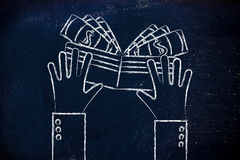 Plan illustration av händer som rymmer en plånbok full av kassa Royaltyfri Fotografi