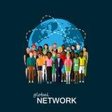 Plan illustration av samhällemedlemmar med en stor gruppnolla royaltyfri illustrationer