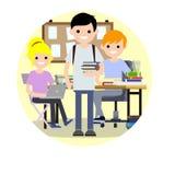 Plan illustration för tecknad film - tre studenter royaltyfri illustrationer