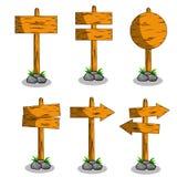 Plan illustration för tecknad film - uppsättning av trävägriktningstecknet vektor illustrationer