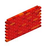 Plan illustration för tecknad film - vägg för röd tegelsten royaltyfri illustrationer