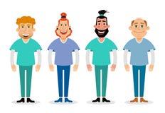 Plan illustration för vektor av doktorer Läkarundersökning- och sjukvårdbegrepp Royaltyfri Fotografi