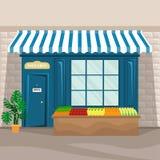 Plan illustration för vektor av livsmedelsbutikfasaden i retro stil vektor illustrationer