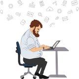Plan illustration för vektor av samhällemedlemmar med män och - det sociala nätverksbegreppet - coworking - programmerare skriver stock illustrationer