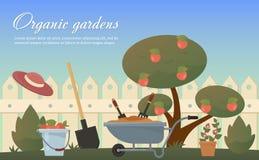 Plan illustration för vektor av trädgårds- jordbruks- tillbehör, hjälpmedel, instrument Utrustning för jordarbete Murslev skyffel stock illustrationer