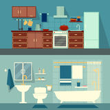 Plan illustration för vektor för rum av lägenheten, hus Kök för hemmiljödesign och modern garnering för bad med Royaltyfri Fotografi